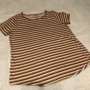 Brown and white striped 70s style v-neck shirt - M